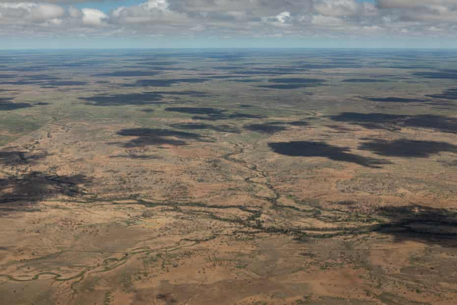 Queensland's channel country seen from a plane flying into Longreach