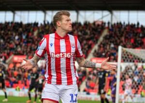 Stoke City's James McClean celebrates his goal.