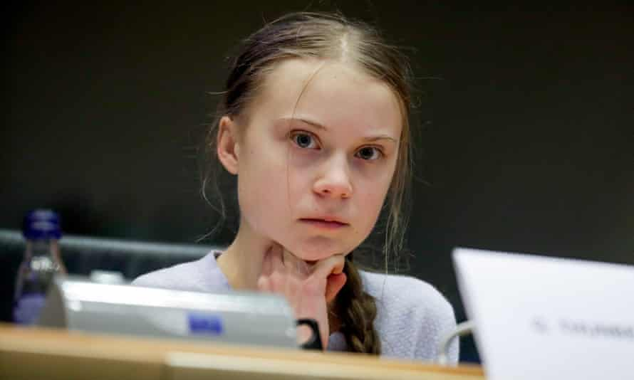 Swedish climate activist Greta Thunberg at a Committee on the Environment, Public Health and Food Safety at the European Parliament in Brussels, Belgium in 2020.