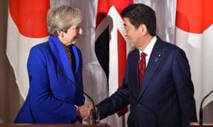 Theresa May and Shinzo Abe at a press conference in Tokyo