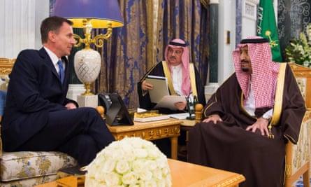 Jeremy Hunt met Saudi foreign minister, Adel al Jubeir and Saudi King Salman