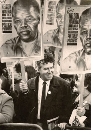 Adelaine Hain, right, with her son, Peter Hain, on the Free Mandela protest outside South Africa House, London, in 1986
