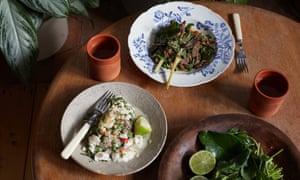 Ben Chapman's northern Thai fish and beef laap salads.