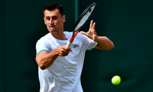 Bernard Tomic pictured during his first-round Wimbledon defeat to Jo-Wilfried Tsonga.
