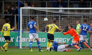 Blackburn Rovers' Adam Armstrong scores his side's first goal in their 5-1 win at Carlisle.