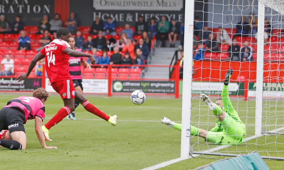 Joel Mumbongo fires in the winner for Accrington Stanley from inside the six-yard box.