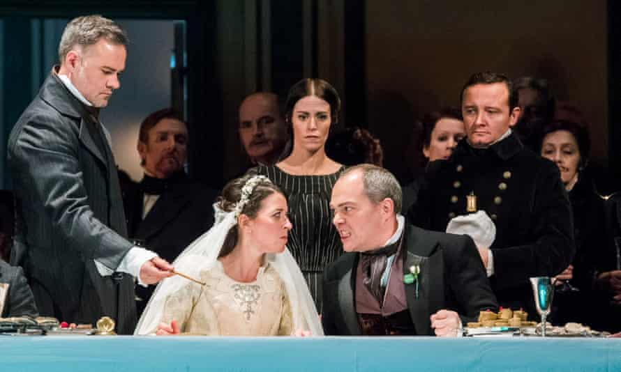 Lisette Oropesa (Lucia) and Christopher Maltman (Enrico) in Lucia di Lammermoor at Royal Opera House, London