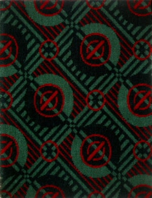 Moquette sample: 'Roundel' or 'Bullseye' design number 11521 by Joy Jarvis, 1947
