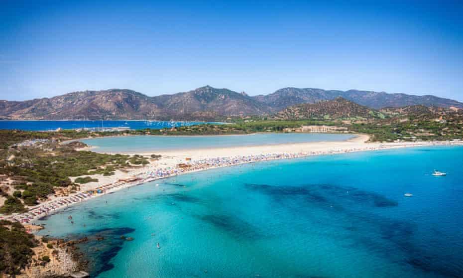 Transparent and turquoise sea in Porto Giunco, Villasimius, Sardinia, Italy