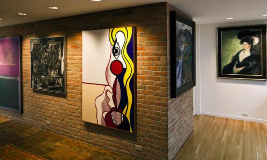 Taubman displayed works by Egon Schiele and Francis Bacon in his Michigan home, above.