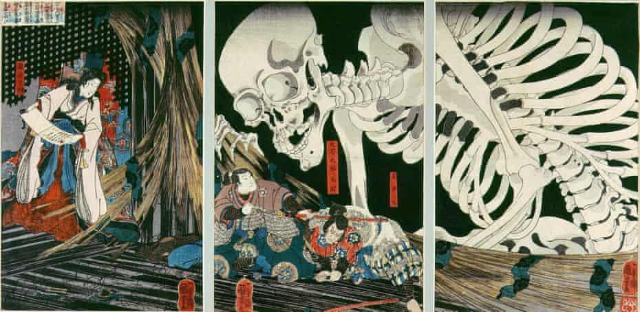 Takiyasha the Witch and the Skeleton Spectre, an 1844 triptych of woodblock prints by Kuniyoshi Utagawa. It shows Takiyasha, daughter of Masakado, summonings a skeleton spectre to frighten Mitsukuni