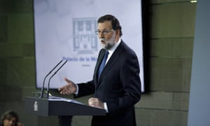 Spanish Prime Minister Mariano Rajoy speaks to the press after the cabinet meeting at Moncloa Palace on 21 October.