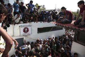 Hundreds of migrants gather for registration procedure in Kos, Greece