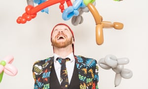 A lot of hot air: Ryan Duff with some of the hundreds of balloon creatures he makes every week.