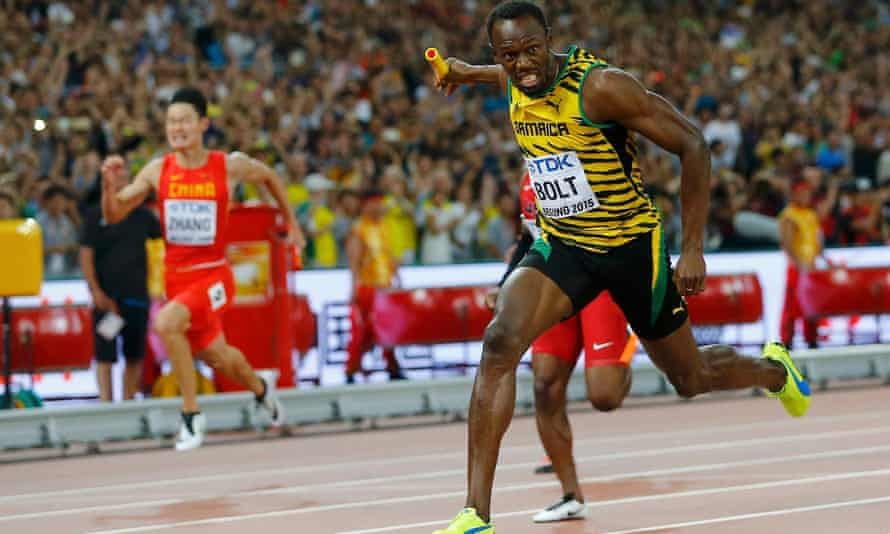 Usain Bolt crosses the finish line to win a messy, dramatic 4x100m final for Jamaica in Beijing.