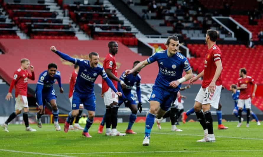 Caglar Soyuncu wheels away to celebrate after putting Leicester 2-1 ahead