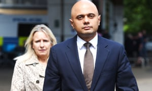 Javid leaves following a visit to the Westway Sports Centre.