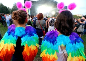 Charleville-Mézières, France People wearing colourful costumes attend the 13th annual Cabaret Vert music festival