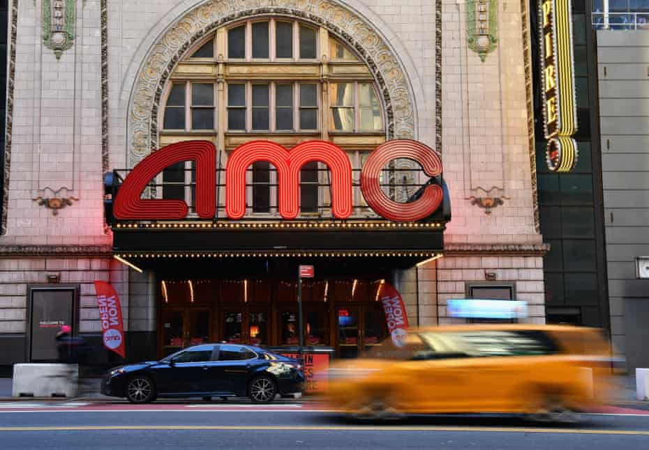 The AMC Empire 25, near Times Square. Cinemas are allowed to open at 25% capacity with a maximum of 50 people per screen and assigned seating.