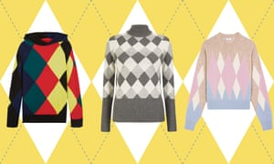 Argyle sweaters, from left: Pringle Reissued, Marks & Spencer Collection and AMI.