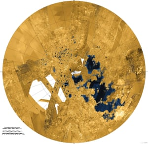 12 December 2013 This colourised mosaic shows the most complete view yet of Titan's northern land of lakes and seas. Titan is the only world in our solar system other than Earth that has stable liquid on its surface. The liquid in Titan's lakes and seas is mostly methane and ethane. In this projection, the north pole is at the centre. Liquids appear blue and black, land areas appear yellow to white. Kraken Mare, Titan's largest sea, is the body in black and blue that sprawls from just below and to the right of the north pole down to the bottom right.