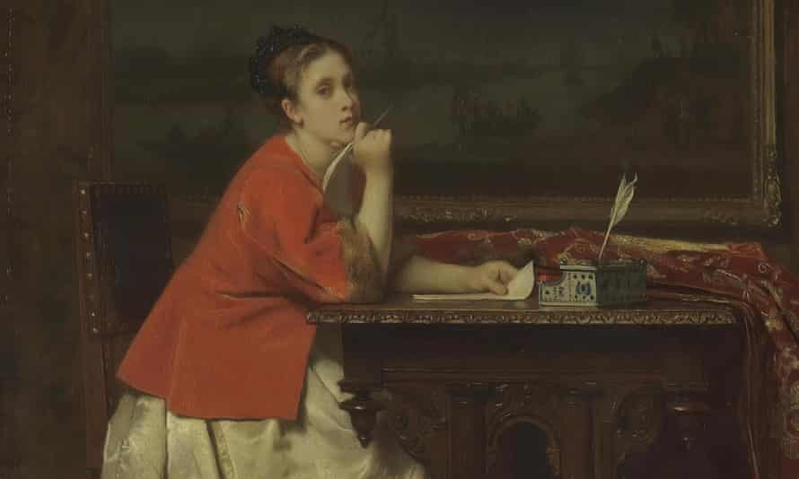 'Girl Writing a Letter' by Florent Willems, 1840. Belgium. Museum: State Hermitage, St. Petersburg.