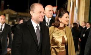 Malta's prime minister Joseph Muscat with his wife, Michelle.