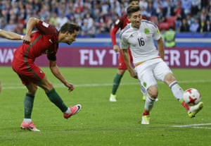 Cedric Soares scores Portugal's second goal during the