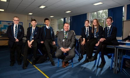 Jason Thurley with students at Beacon academy
