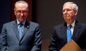 Incoming Senate majority leader Chuck Schumer, left, on January 20, succeeded Kentucky Republican Senator Mitch McConnell (right), on Capitol Hill.