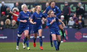 Cuthbert celebrates scoring Chelsea's second goal.