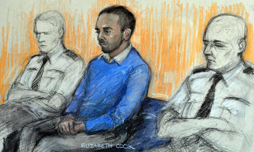 Courts artist sketch of Anis Sardar in the dock.
