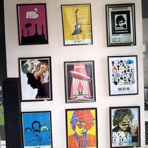 Framed posters in Dylan's Cafe.