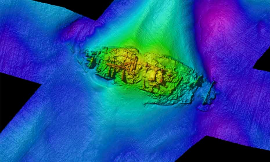Multibeam image of unidentified wreck GAD23 off Goodwin Sands in Kent