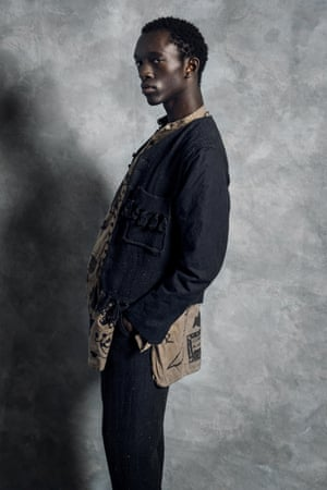 Shirt, £1377, jacket, £1400, and trousers, £1417, all John Alexander Skelton, doverstreetmarket.comGrooming Rose Angus at S Management using Laura Mercier and Bumble & Bumble, Fashion assistant Melina Frangos, Photographer's assistant Melinda Davies, Model Wilson Oryema at Storm