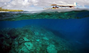A boat carrying tourists floats above an area called the Coral Gardens near Lady Elliot Island off the coast of Queensland on June 10.