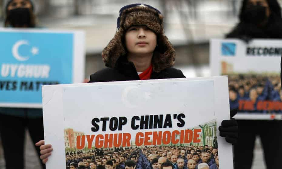 Umer Jan attends a rally on 19 February outside the Canadian embassy to encourage Canada in labeling China's treatment of its Uighur population as genocide.