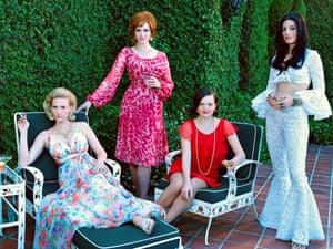 January Jones as Betty Francis. Christina Hendricks as Joan Harris, Elisabeth Moss as Peggy Olson and Jessica Pare as Megan Draper - Mad Men series 7