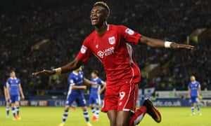 Tammy Abraham, celebrating after scoring for Bristol City at Sheffield Wednesday, describes Diego Costa as 'a funny lad'.