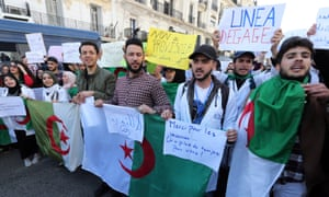 Algerians protest against President Bouteflika in Algiers on Monday.