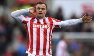 Xherdan Shaqiri celebrates scoring Stoke's third goal against Hull.
