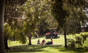 The Northcote Golf Course is allowing local residents to use the outdoor space during the Covid-19 restrictions in Metropolitan Melbourne. Photograph by Christopher hopkins for THe Guardian