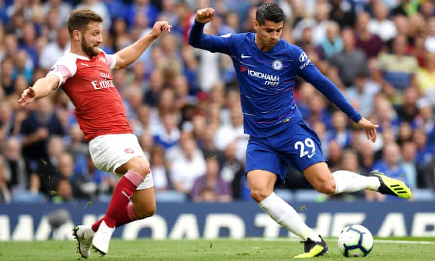 Álvaro Morata outfoxes Arsenal's defence to score his side's second goal in the 3-2 victory over Arsenal at Stamford Bridge.