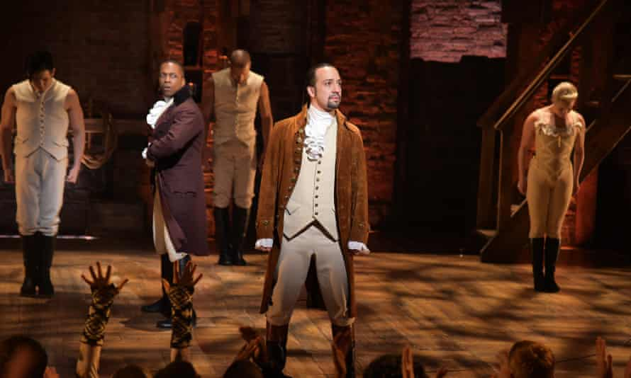 Leslie Odom Jr, left, and Lin-Manuel Miranda perform a song from Hamilton at the Grammys.