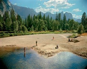 Merced River, Yosemite National Park, California, 13 August 1979, by Stephen Shore. In his 2009 book Merced River, Shore presented a series of images taken at Yosemite. The subjects ranged from landscapes to a boy swimming in the river and an abandoned pushchair. The viewer ultimately discovers that the photographs are all part of a larger scene, with each image cropped from this single picture