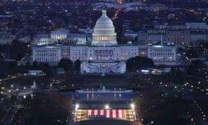 The US Capitol building is prepared for the inauguration ceremonies for president-elect Joe Biden