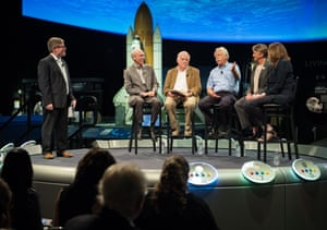 The Smithsonian National Air and Space Museum curator, Matthew Shindell (far L), moderates a discussion with (seated, L-R) the Nasa Voyager project scientist, Ed Stone; the mission grand tour creator, Gary Flandro; researcher Alan Cummings; project manager Suzy Dodd, and the golden record producer, Ann Druyan