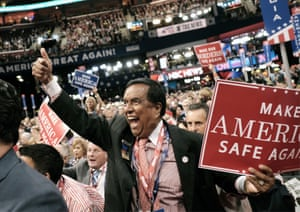A delegate cheers at the Republican national convention at Quicken Loans Arena
