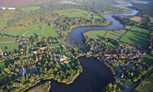 Aerial view of the New Forest village of Beaulieu.