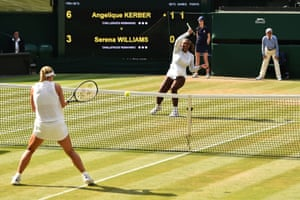Serena Williams fires a forehand over the net to Angelique Kerber.
